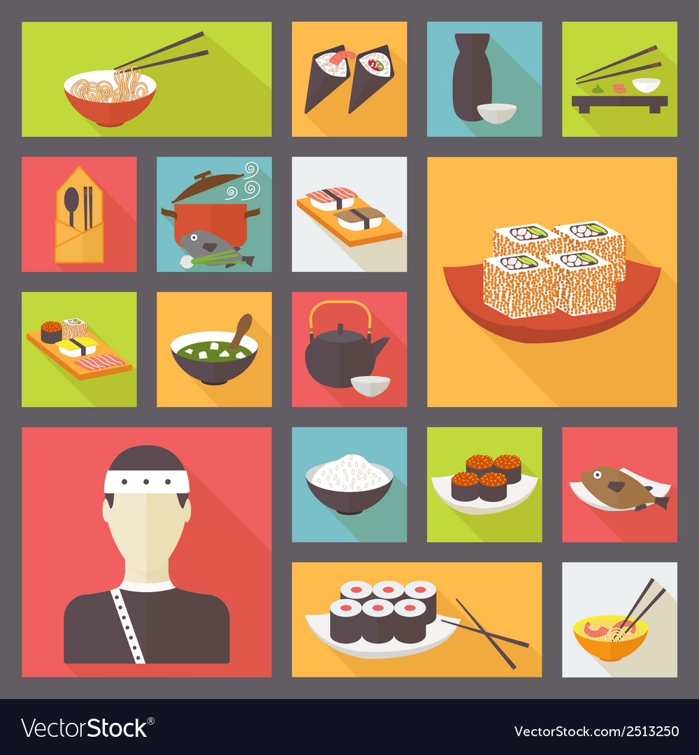 Japanese cuisine food icons set flat design vector | Price: 1 Credit (USD $1)