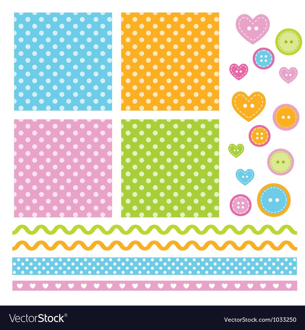 Polka dots scrapbook elements vector