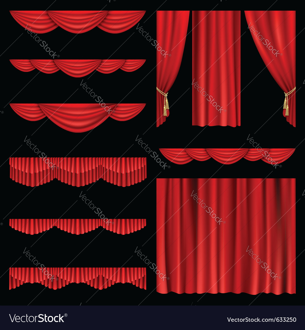 Set of red curtains to theater stage mesh vector | Price: 1 Credit (USD $1)