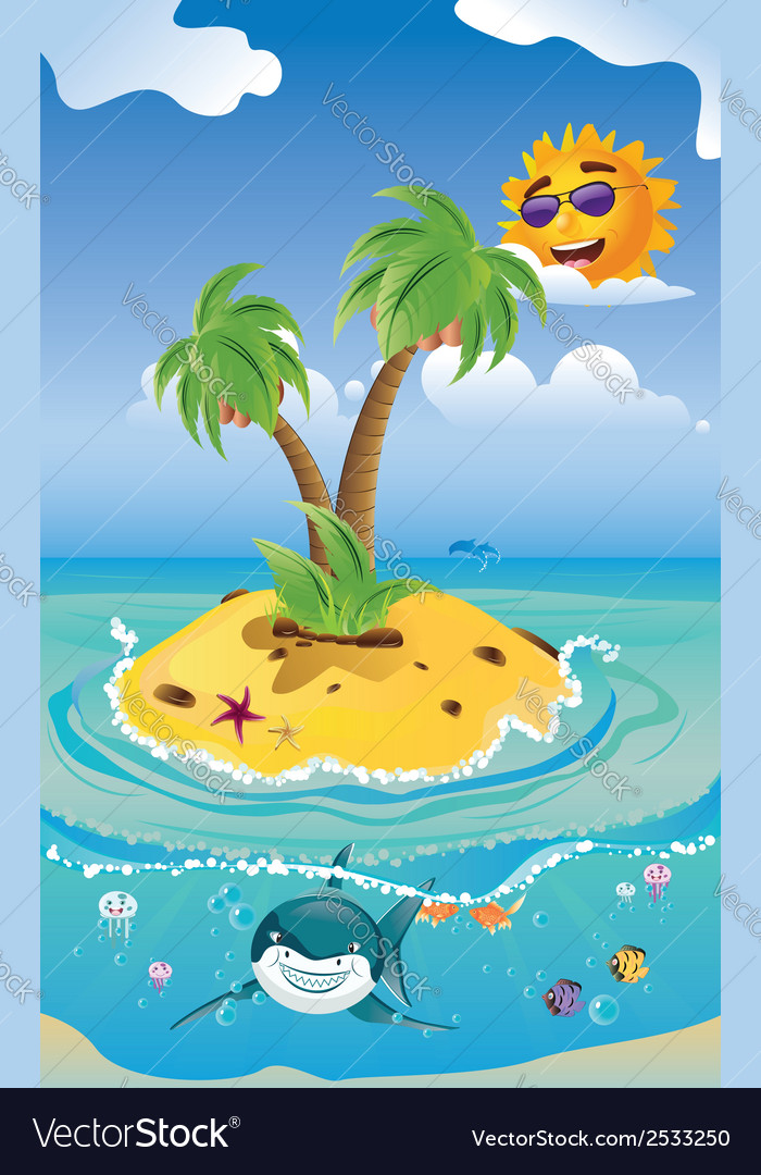 Shark and tropic island vector | Price: 3 Credit (USD $3)