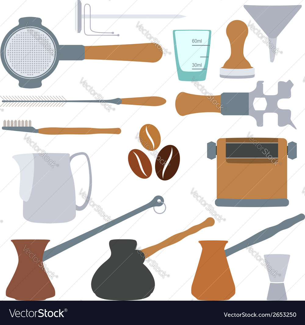 Solid colors coffee equipment set vector | Price: 1 Credit (USD $1)