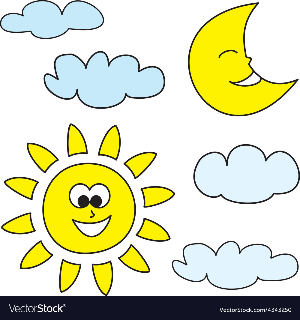 Sun moon and clouds weather cartoon icons vector
