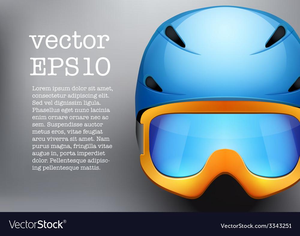 Background of classic ski helmet and orange vector | Price: 1 Credit (USD $1)