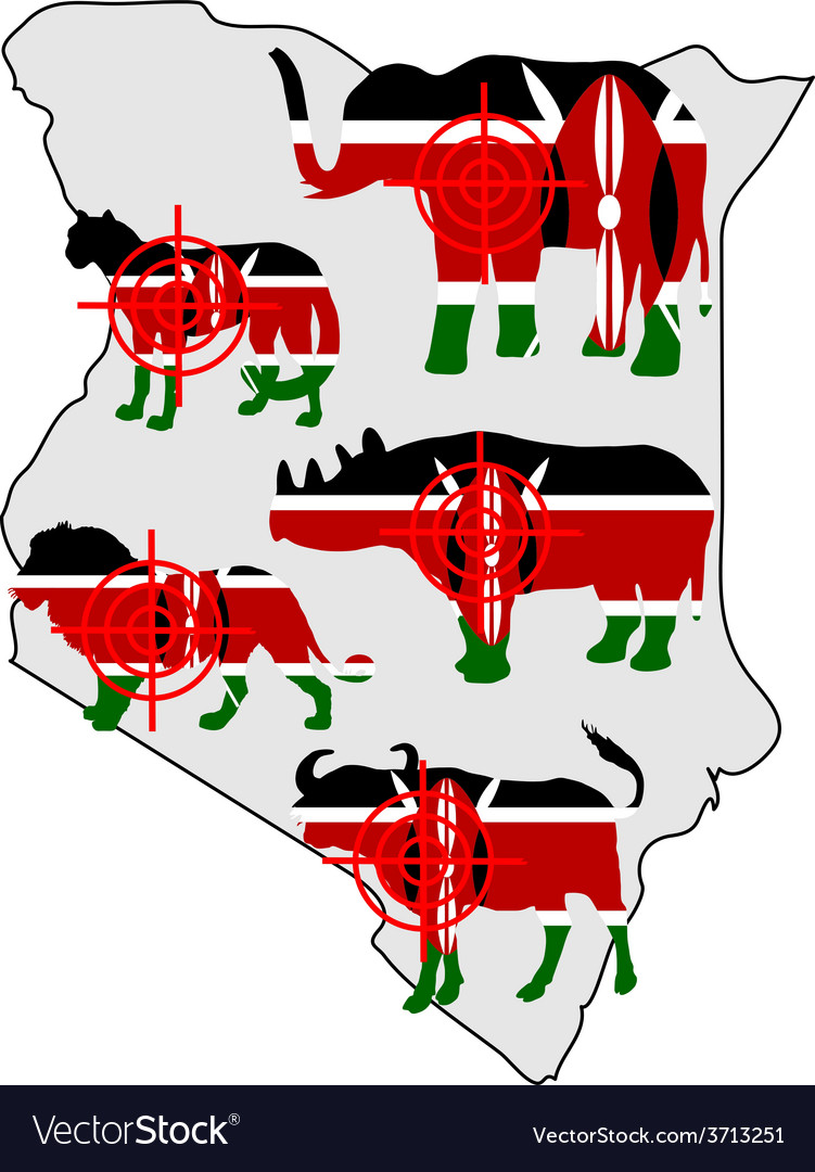 Big five kenya cross lines vector | Price: 1 Credit (USD $1)
