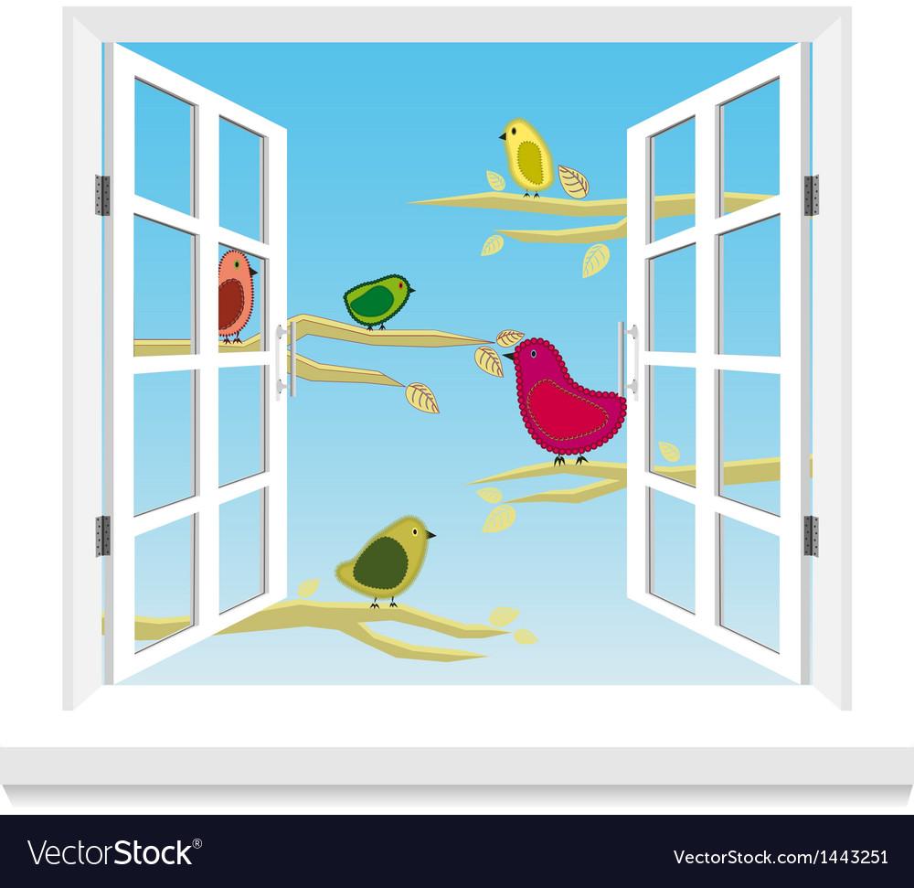 Birds in the window vector | Price: 1 Credit (USD $1)