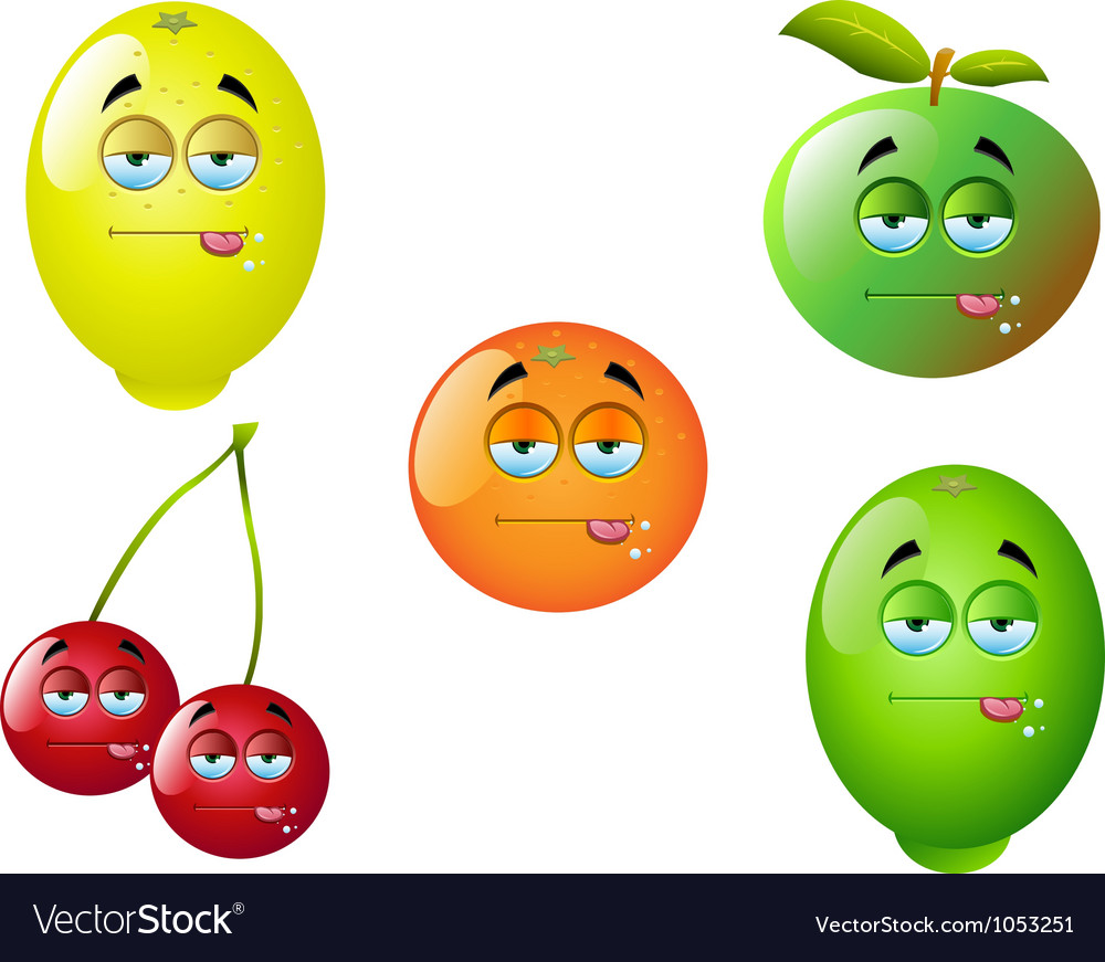 Cartoon fruit set 1 vector | Price: 1 Credit (USD $1)