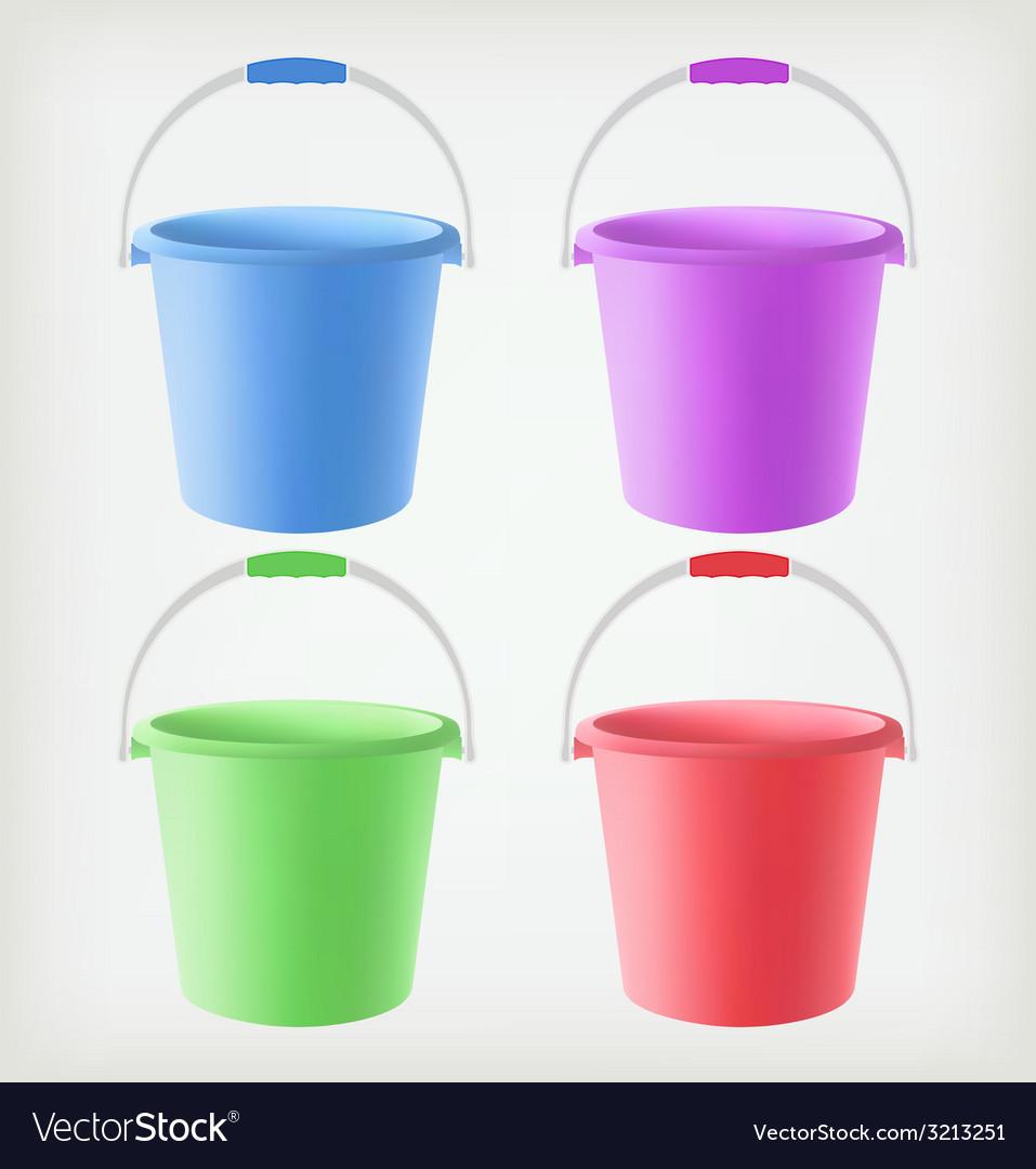 Colored buckets vector | Price: 1 Credit (USD $1)