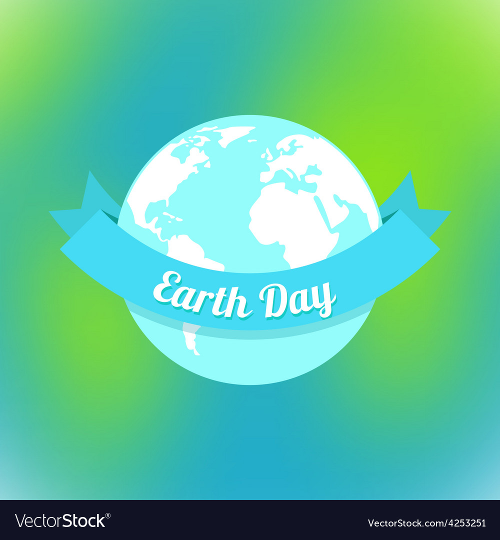Earth day in blue and green colors vector | Price: 1 Credit (USD $1)