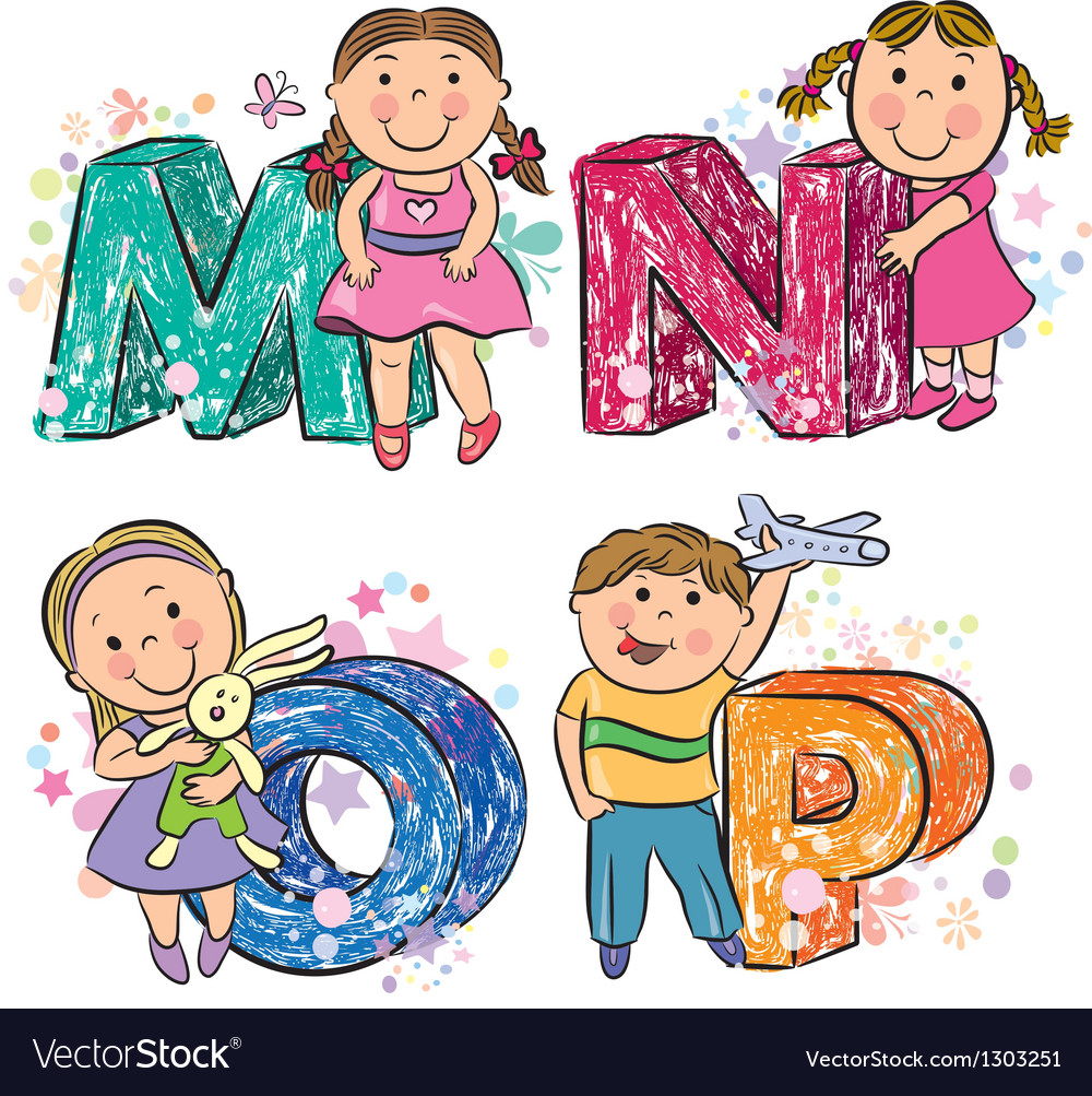 Funny alphabet with kids mnop vector | Price: 1 Credit (USD $1)