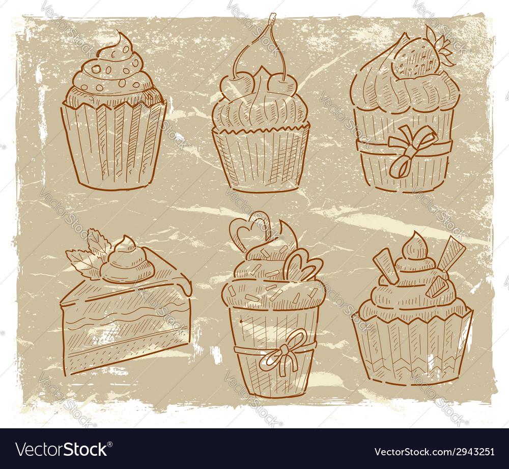Hand drawn cupcake vector | Price: 1 Credit (USD $1)