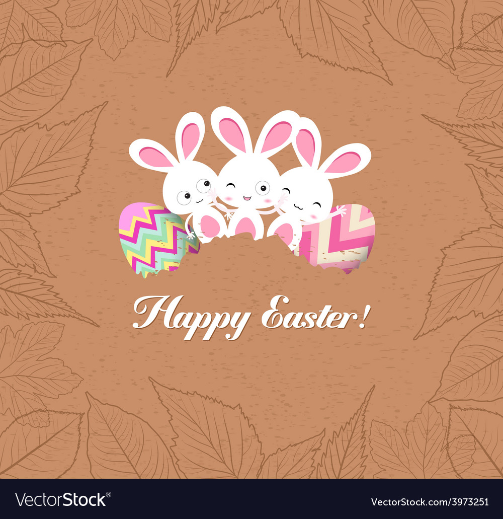 Happy easter eggs and bunnys with leaves greeting vector | Price: 1 Credit (USD $1)