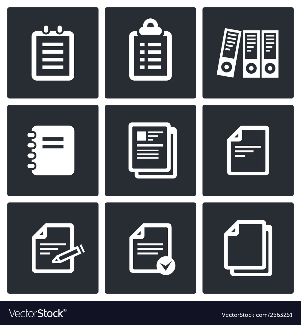 Notepad paper documents icons set vector | Price: 1 Credit (USD $1)