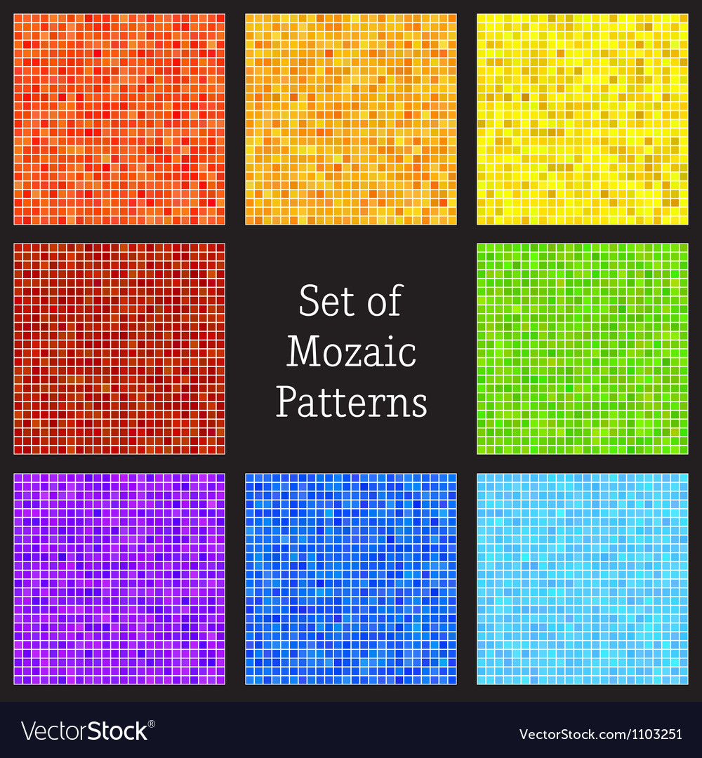 Set of patterns of colorful mosaic vector | Price: 1 Credit (USD $1)