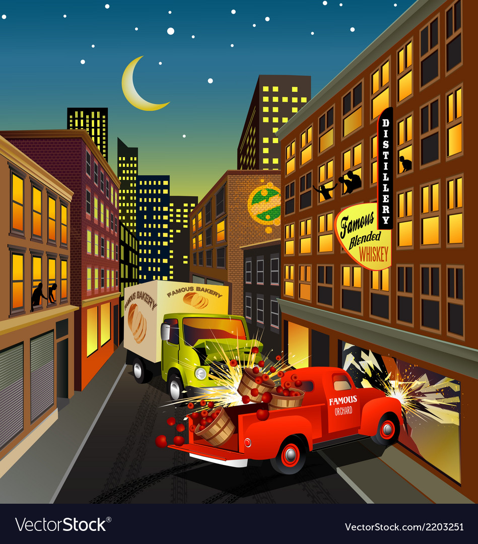 Street scene with trucks crashing vector | Price: 3 Credit (USD $3)