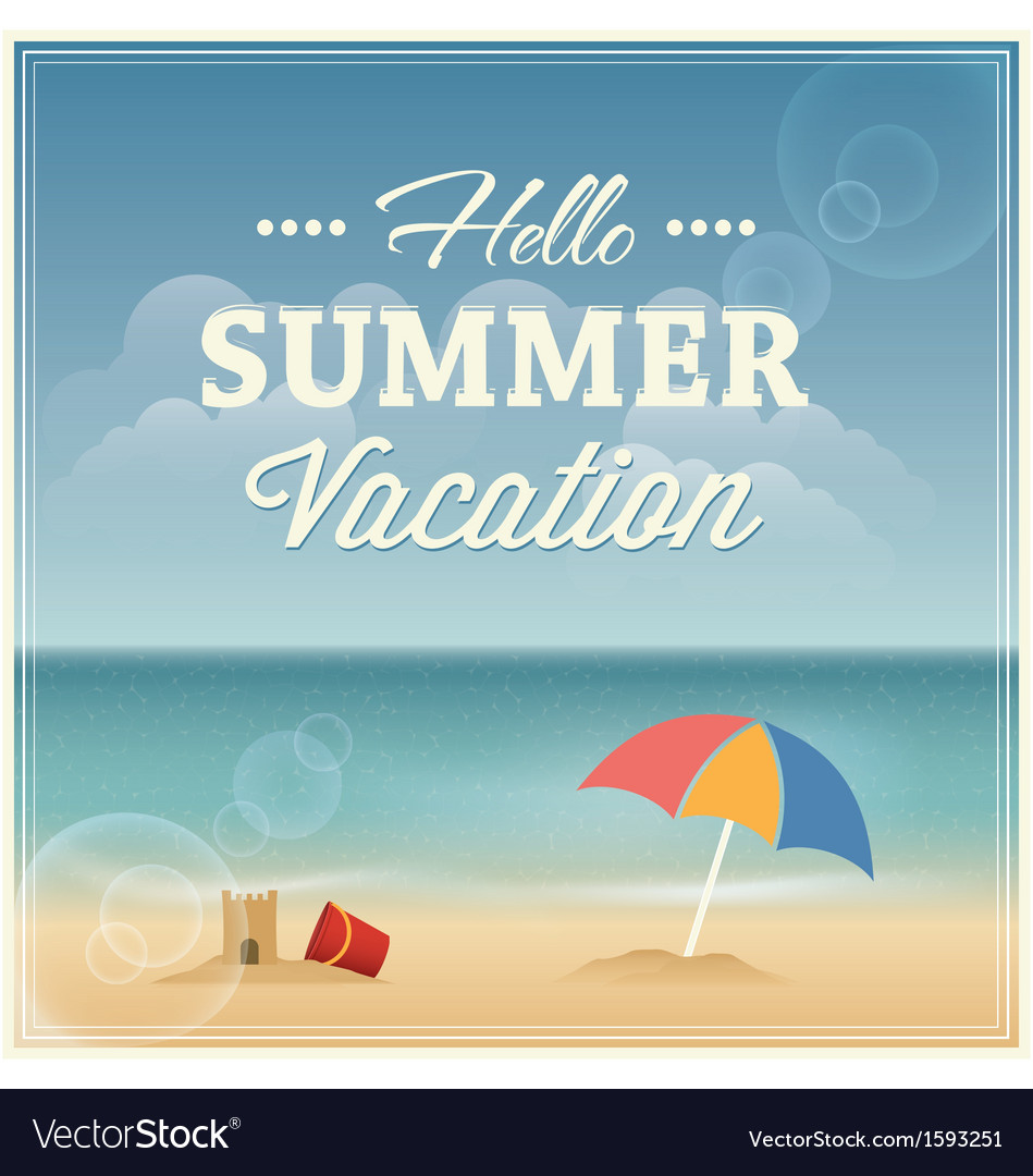 Summer vacation greeting card design vector | Price: 1 Credit (USD $1)