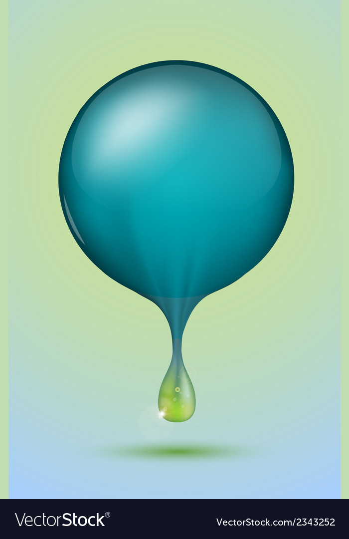 Blue sphere with a green drop vector | Price: 1 Credit (USD $1)