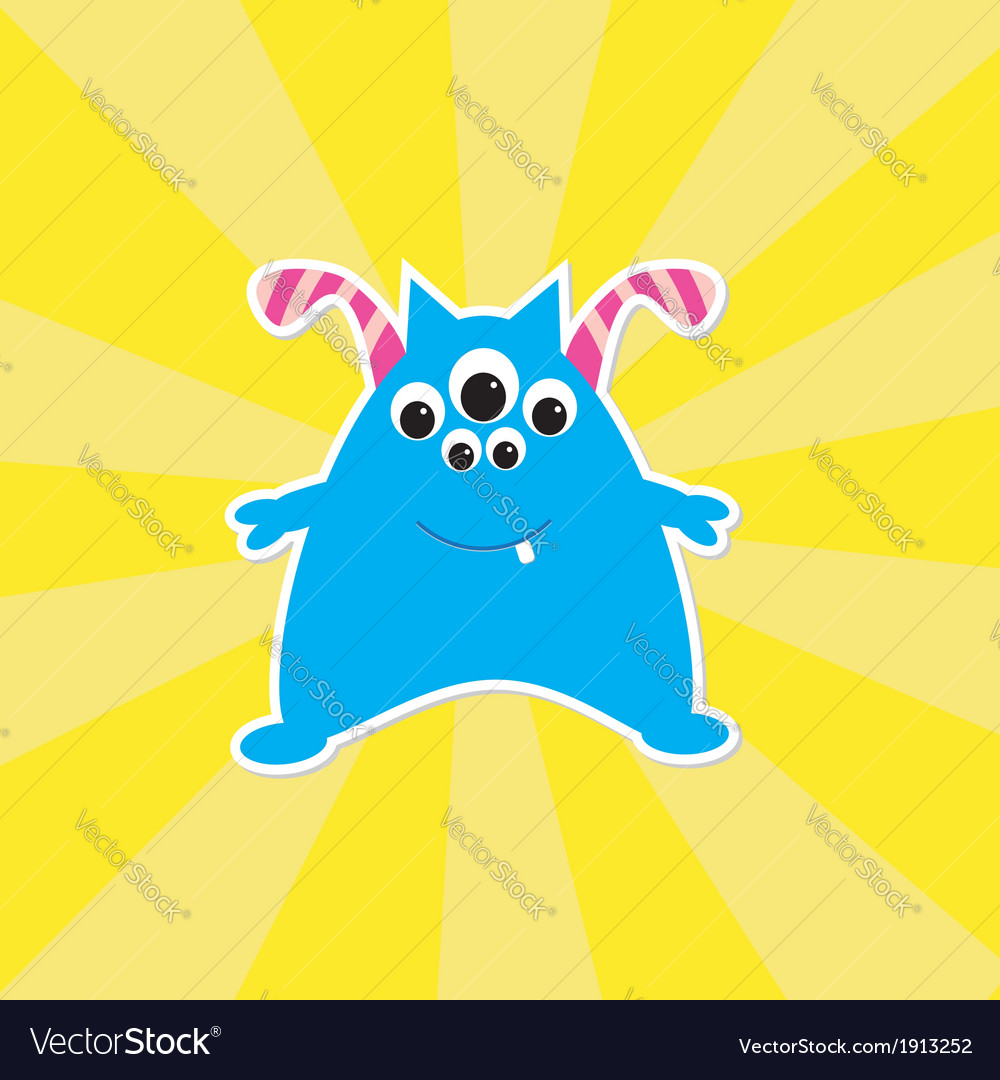 Cute cartoon blue monster card vector | Price: 1 Credit (USD $1)