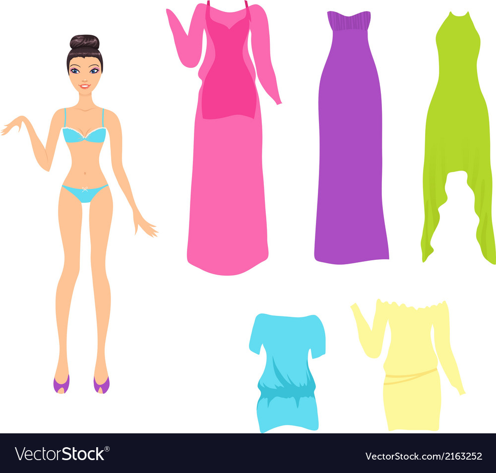 Dress up doll with an assortment of summer dresses vector | Price: 1 Credit (USD $1)
