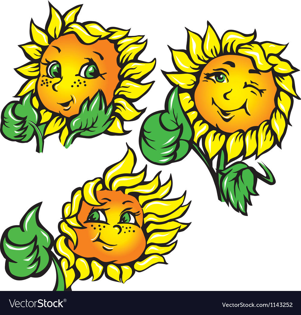 Funny sunflower shows ok vector | Price: 1 Credit (USD $1)