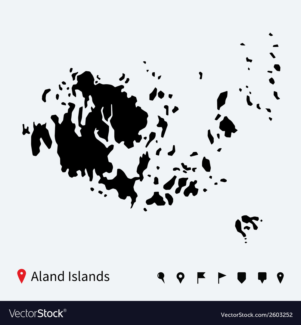 High detailed map of aland islands with navigation vector | Price: 1 Credit (USD $1)