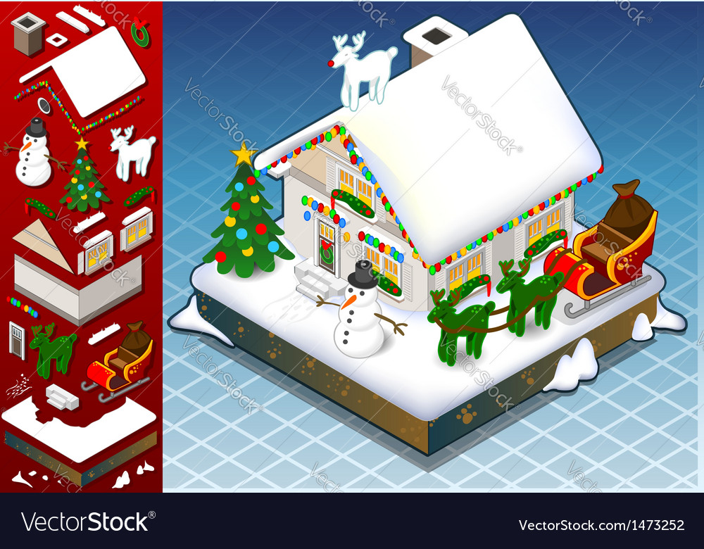 Isometric christmas snow capped house vector | Price: 1 Credit (USD $1)