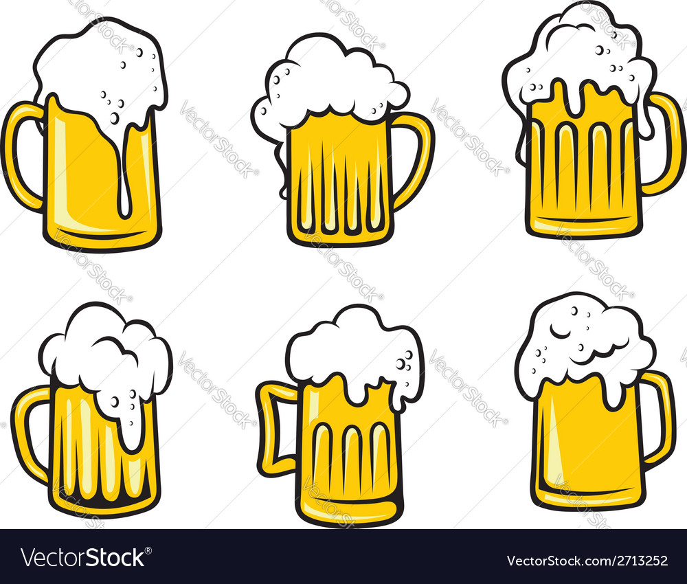 Lager beer tankards set vector | Price: 1 Credit (USD $1)