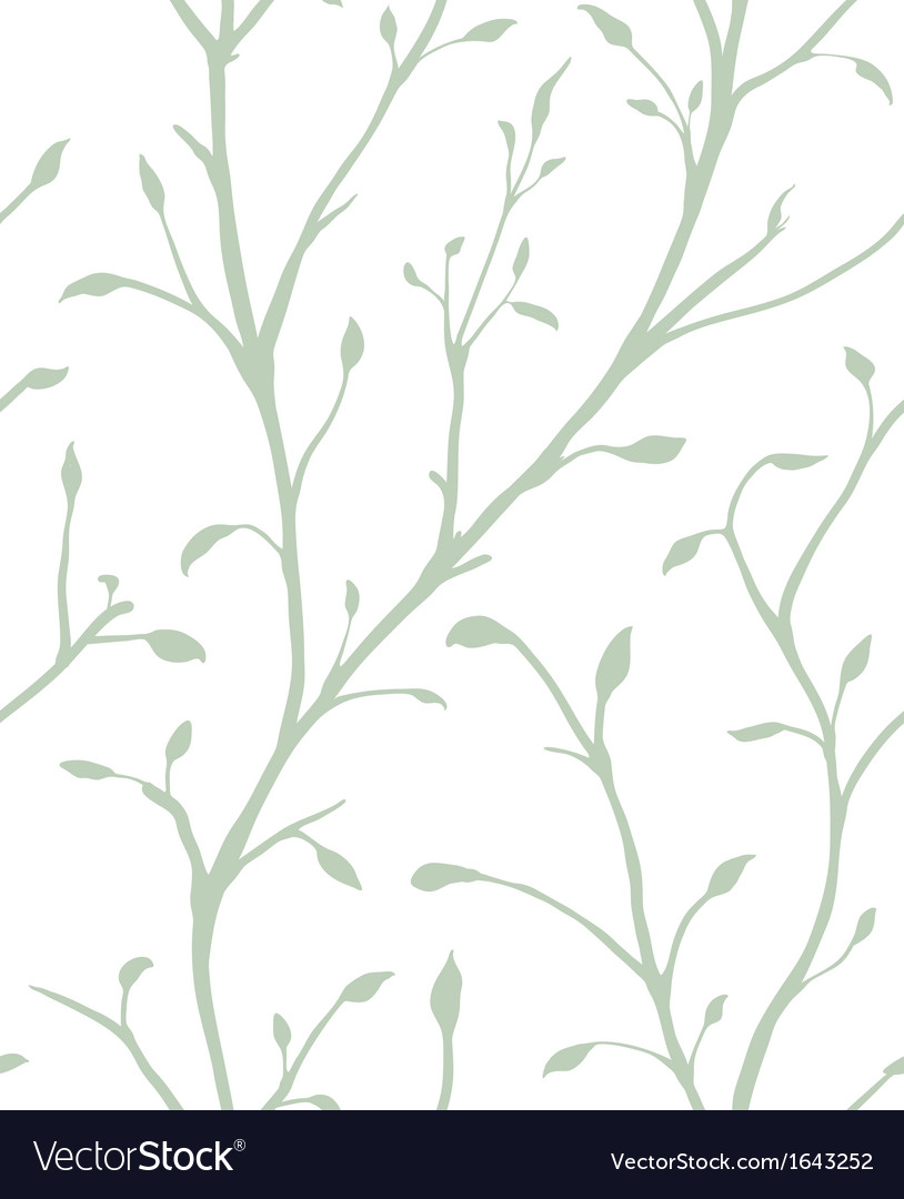 Ornamental plant with leaves seamless pattern vector | Price: 1 Credit (USD $1)