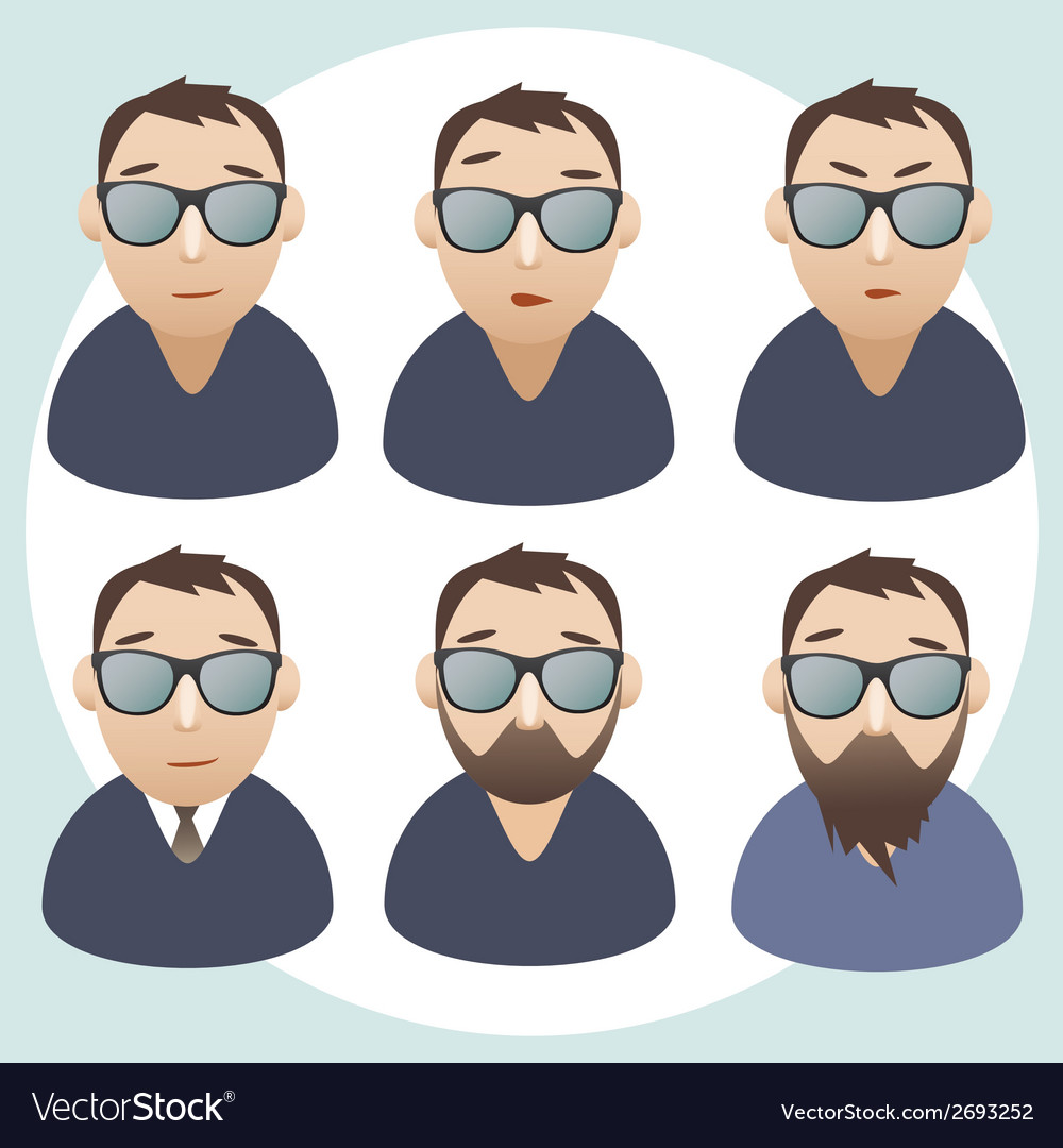 Portraits of men wearing spectacles vector | Price: 1 Credit (USD $1)