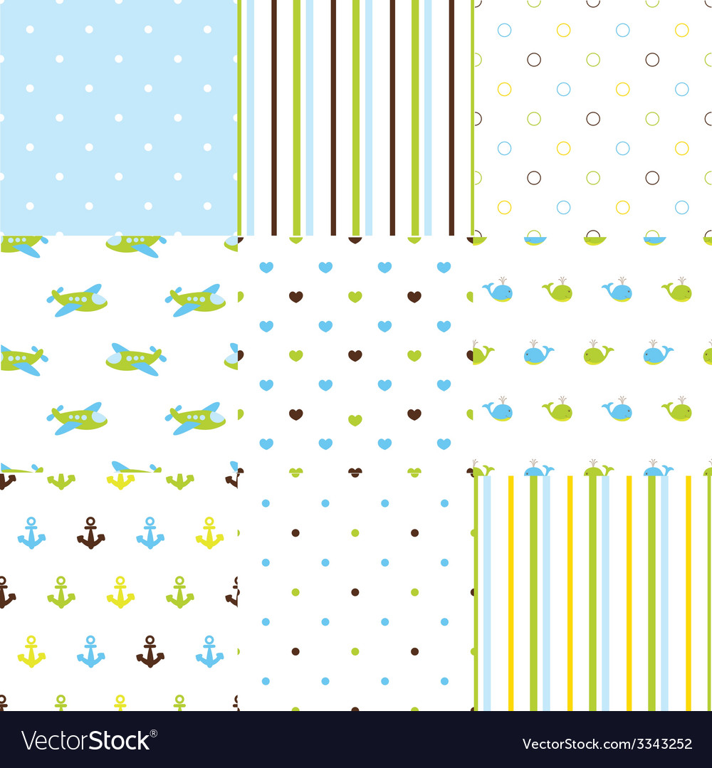 Set of baby boy seamless patterns vector | Price: 1 Credit (USD $1)