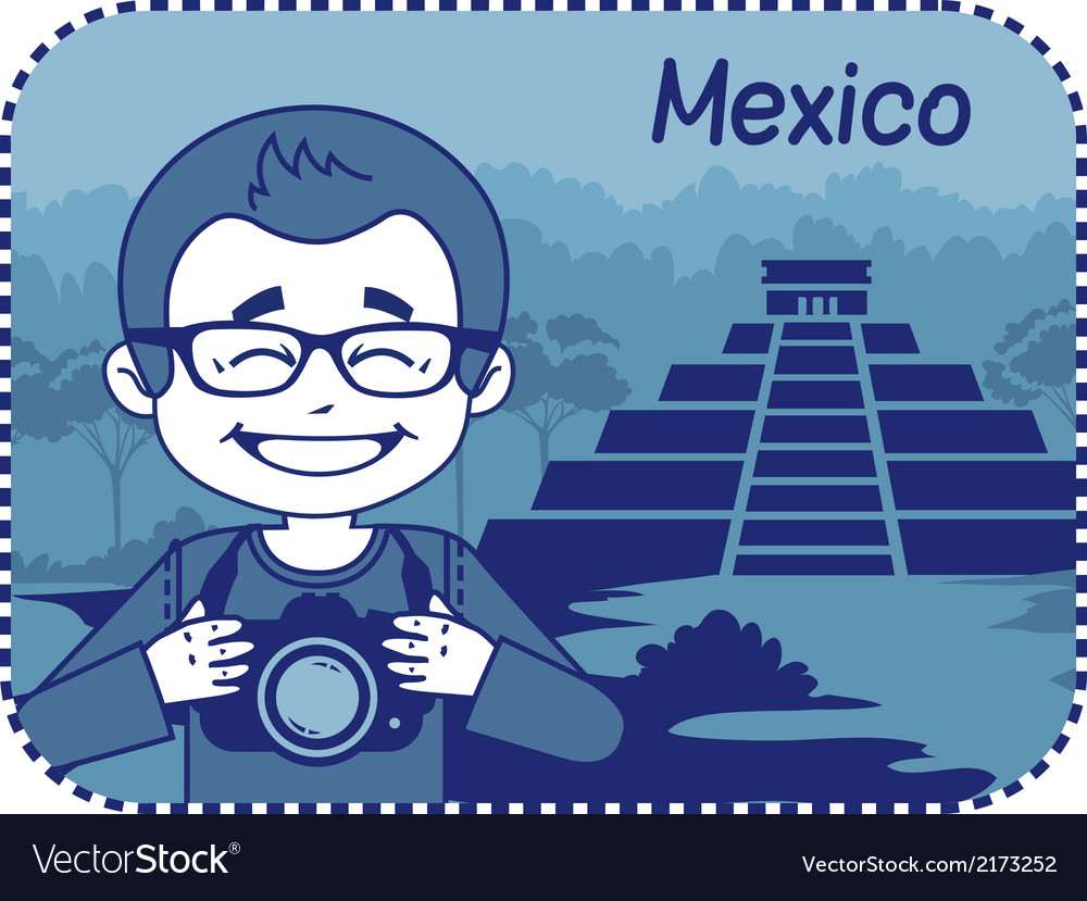 Teaser with photographer travels through mexico vector | Price: 1 Credit (USD $1)