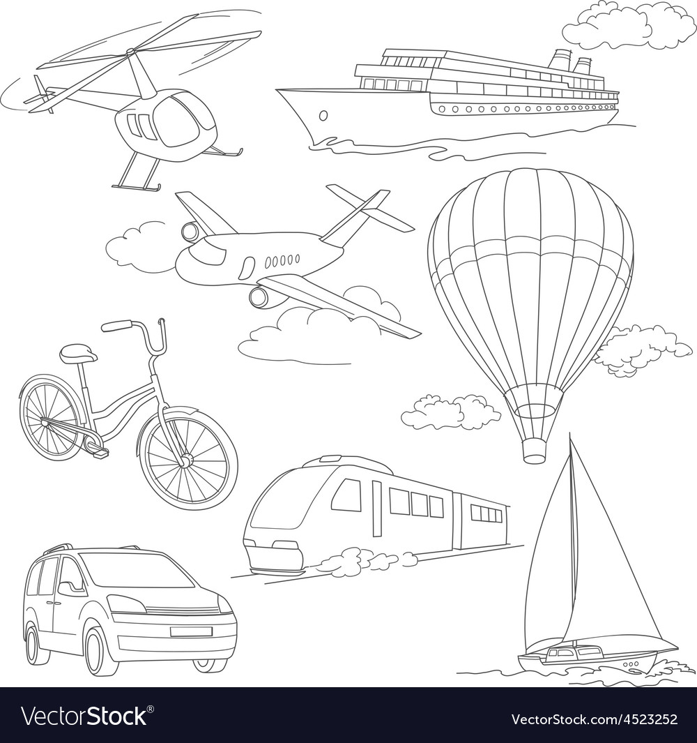Travel set with car airballoons ships bike vector