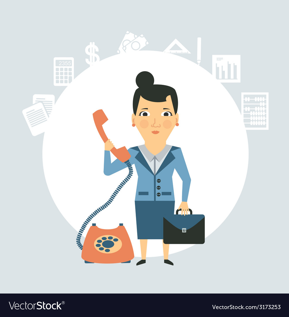 Accountant talking on the phone vector | Price: 1 Credit (USD $1)