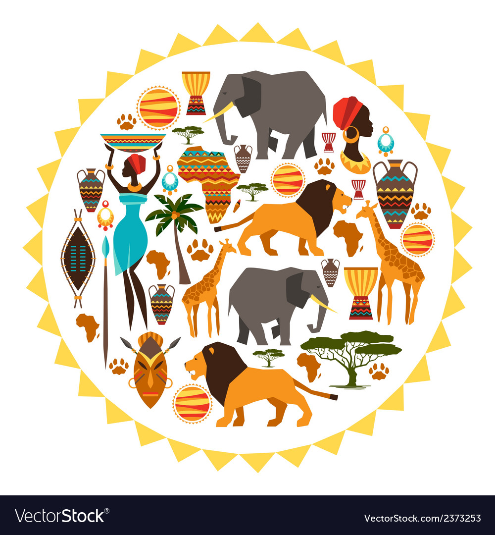 African ethnic background in shape of sun stylized vector | Price: 1 Credit (USD $1)