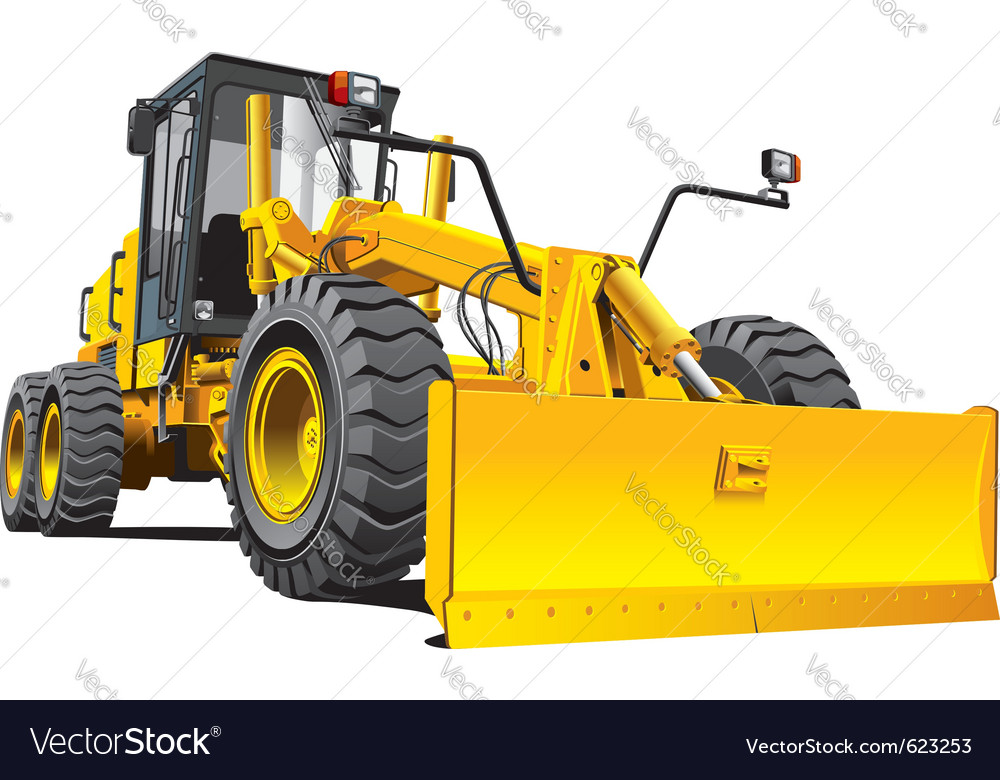 Detailed ial image of yellow roadgrader isolated o vector | Price: 3 Credit (USD $3)
