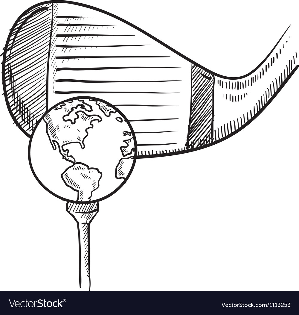 Doodle golf globe vector | Price: 1 Credit (USD $1)