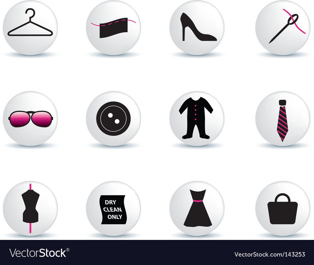 Fashion icons white buttons vector | Price: 1 Credit (USD $1)