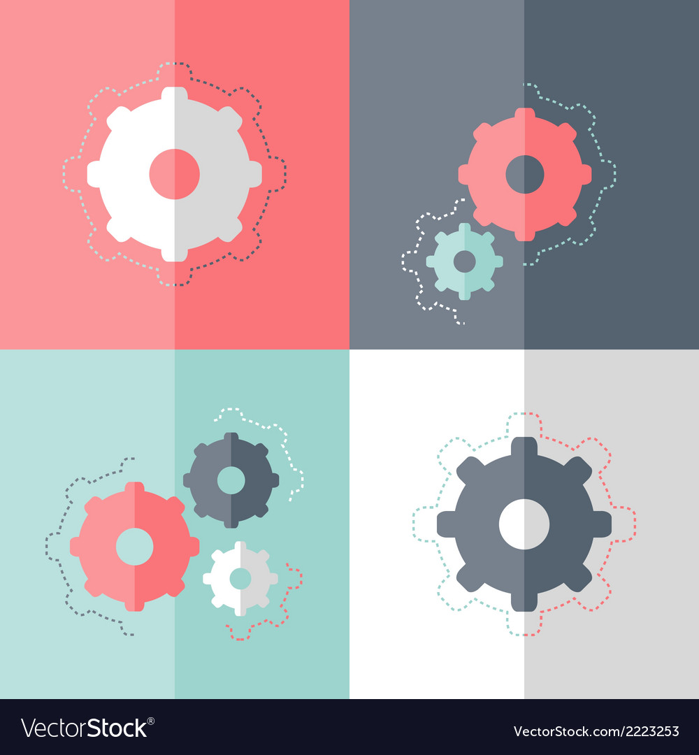 Flat gear wheel icon set vector | Price: 1 Credit (USD $1)