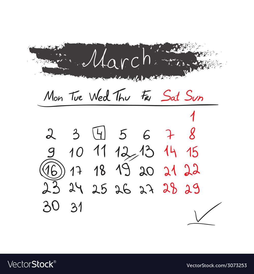 Handdrawn calendar march 2015 vector | Price: 1 Credit (USD $1)