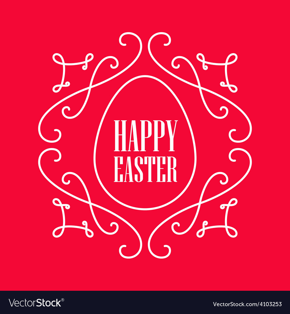 Happy easter - festive card with monogram style vector | Price: 1 Credit (USD $1)