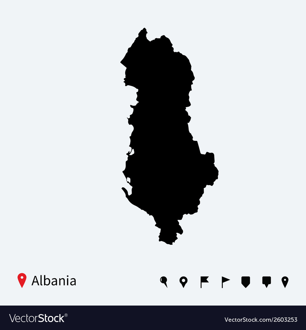 High detailed map of albania with navigation pins vector | Price: 1 Credit (USD $1)