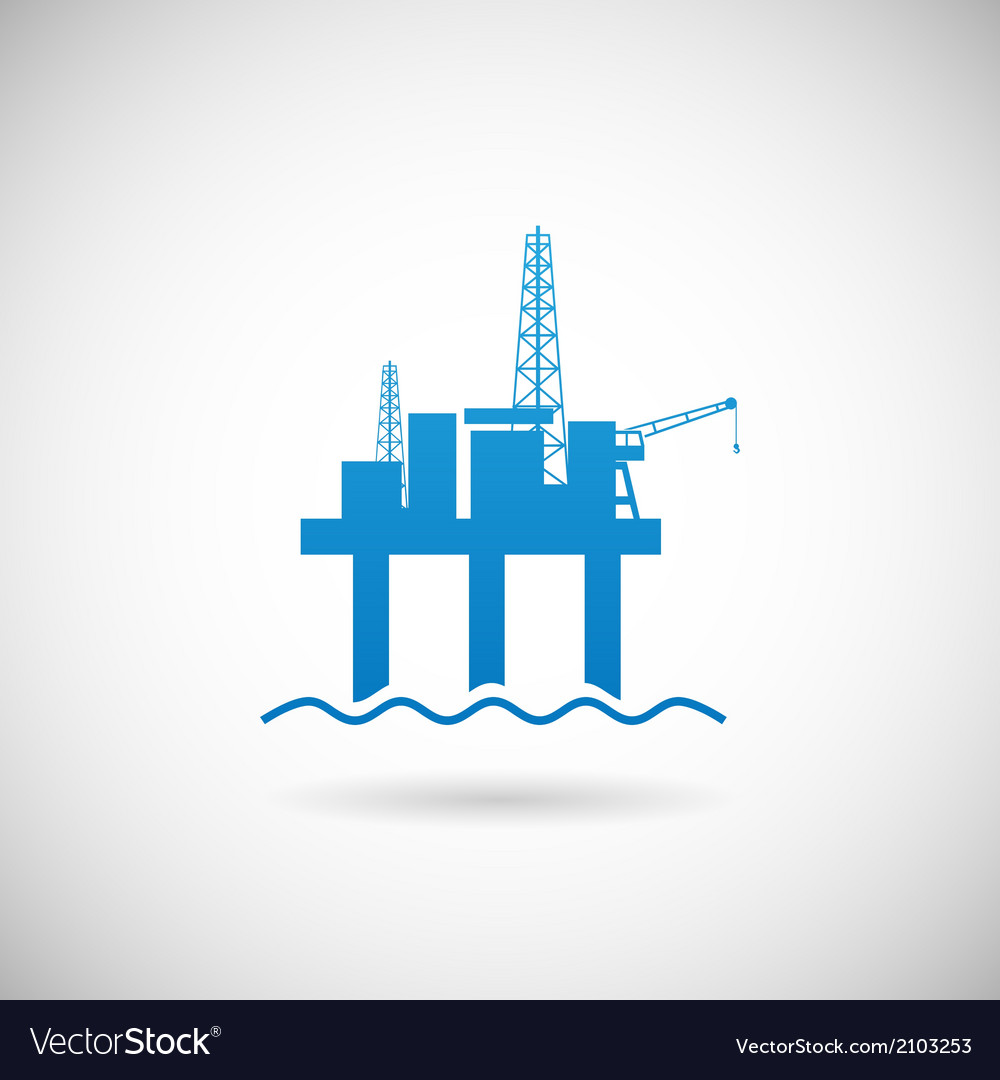 Oil offshore platform colloquially rig symbol icon vector | Price: 1 Credit (USD $1)