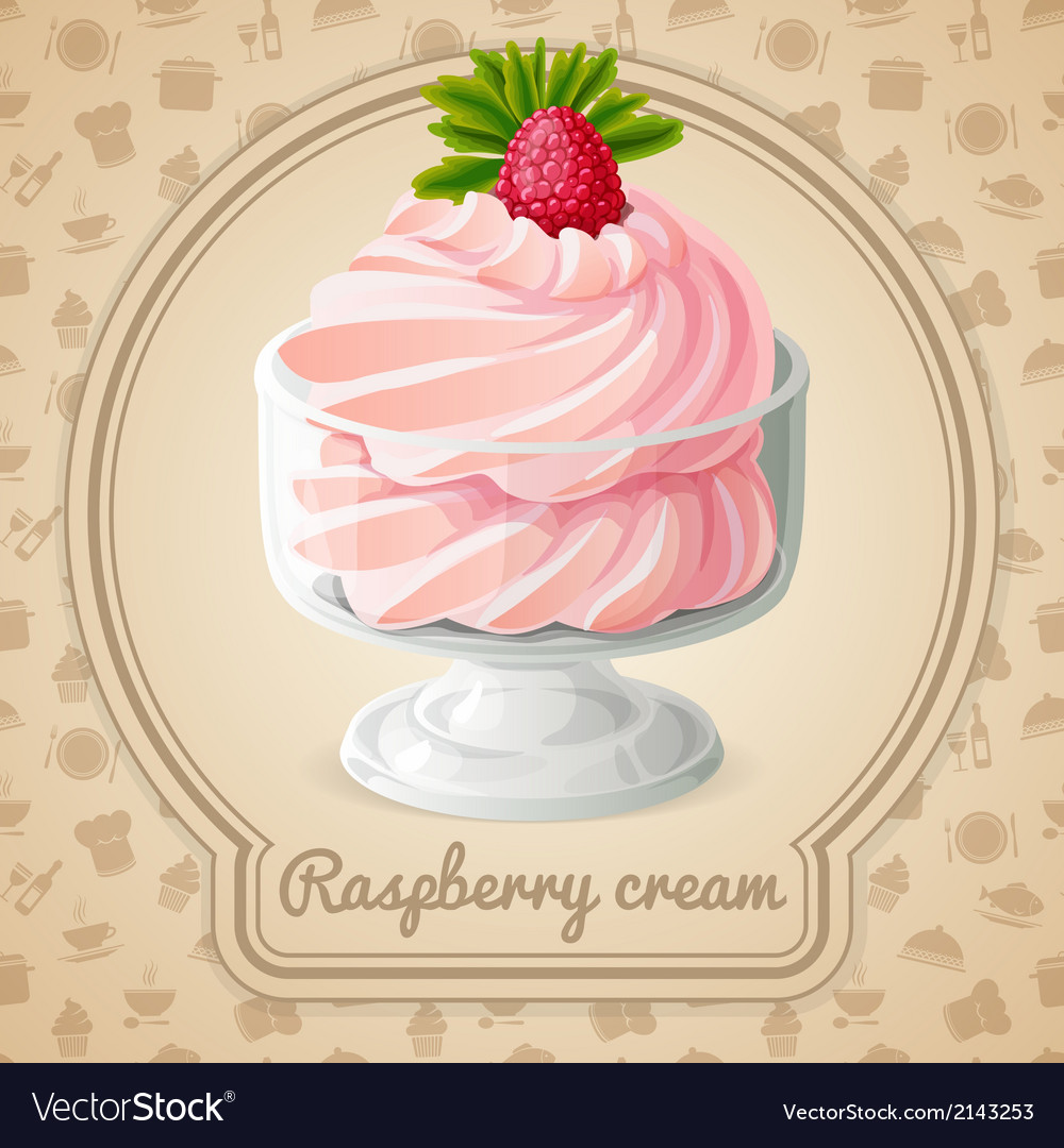 Raspberry cream badge vector | Price: 3 Credit (USD $3)