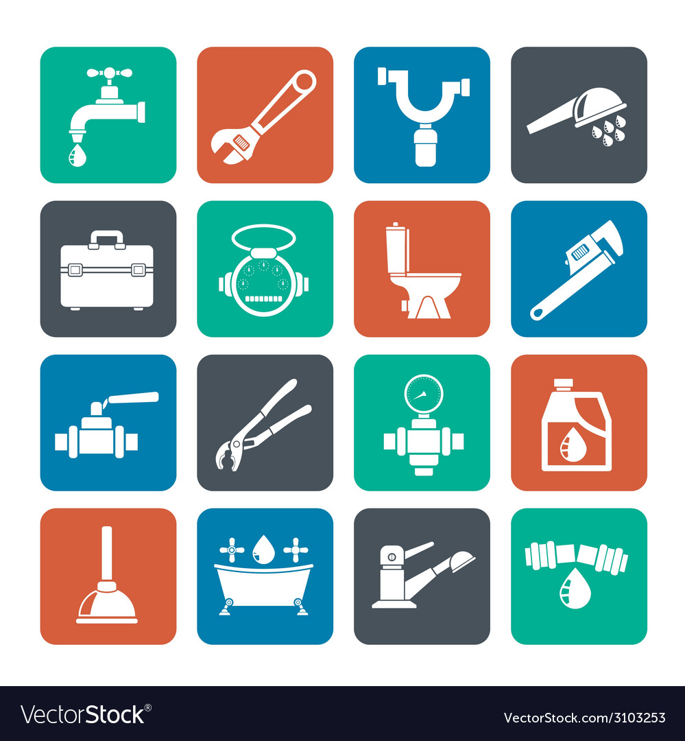 Silhouette plumbing objects and tools icons vector | Price: 1 Credit (USD $1)