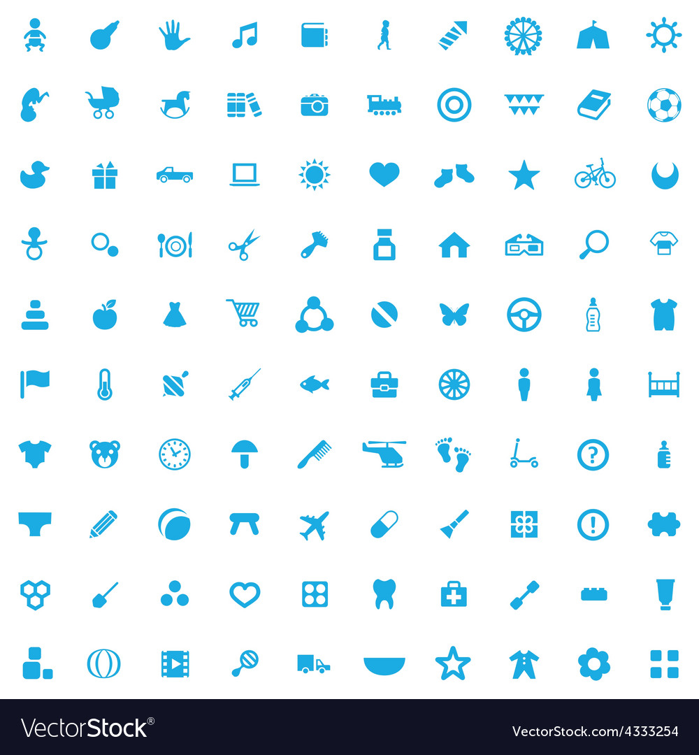 100 baby kids icons vector | Price: 1 Credit (USD $1)