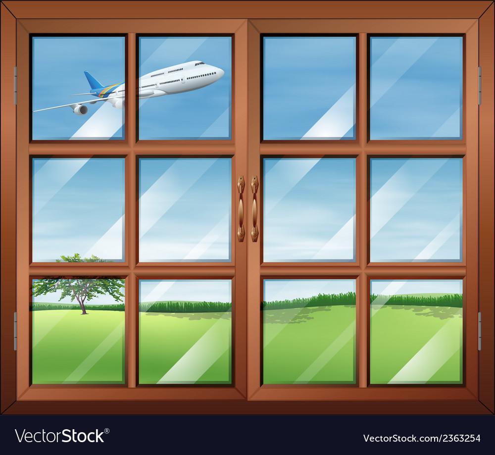 A window with a view of the airplane in the sky vector | Price: 1 Credit (USD $1)
