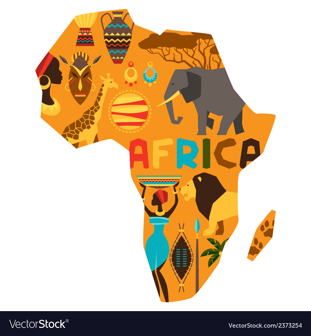 African ethnic background with of map vector | Price: 1 Credit (USD $1)