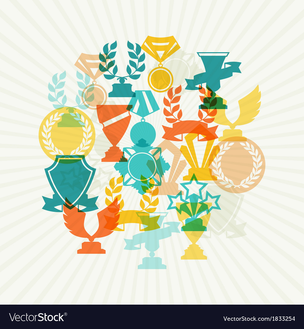 Background with trophy and awards vector | Price: 1 Credit (USD $1)