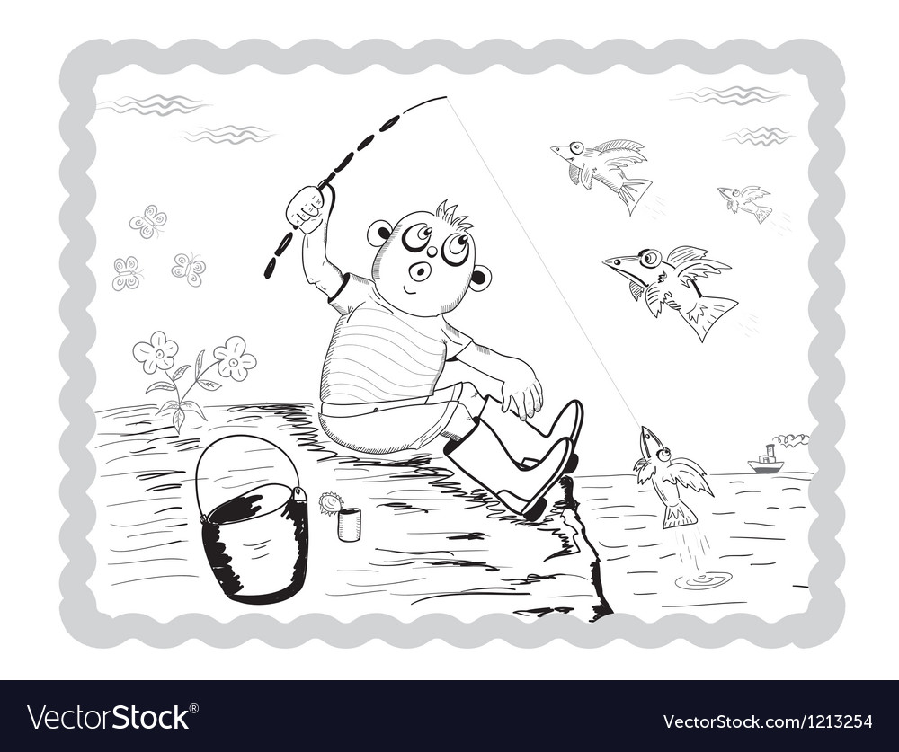 Boy fisherman vector | Price: 3 Credit (USD $3)