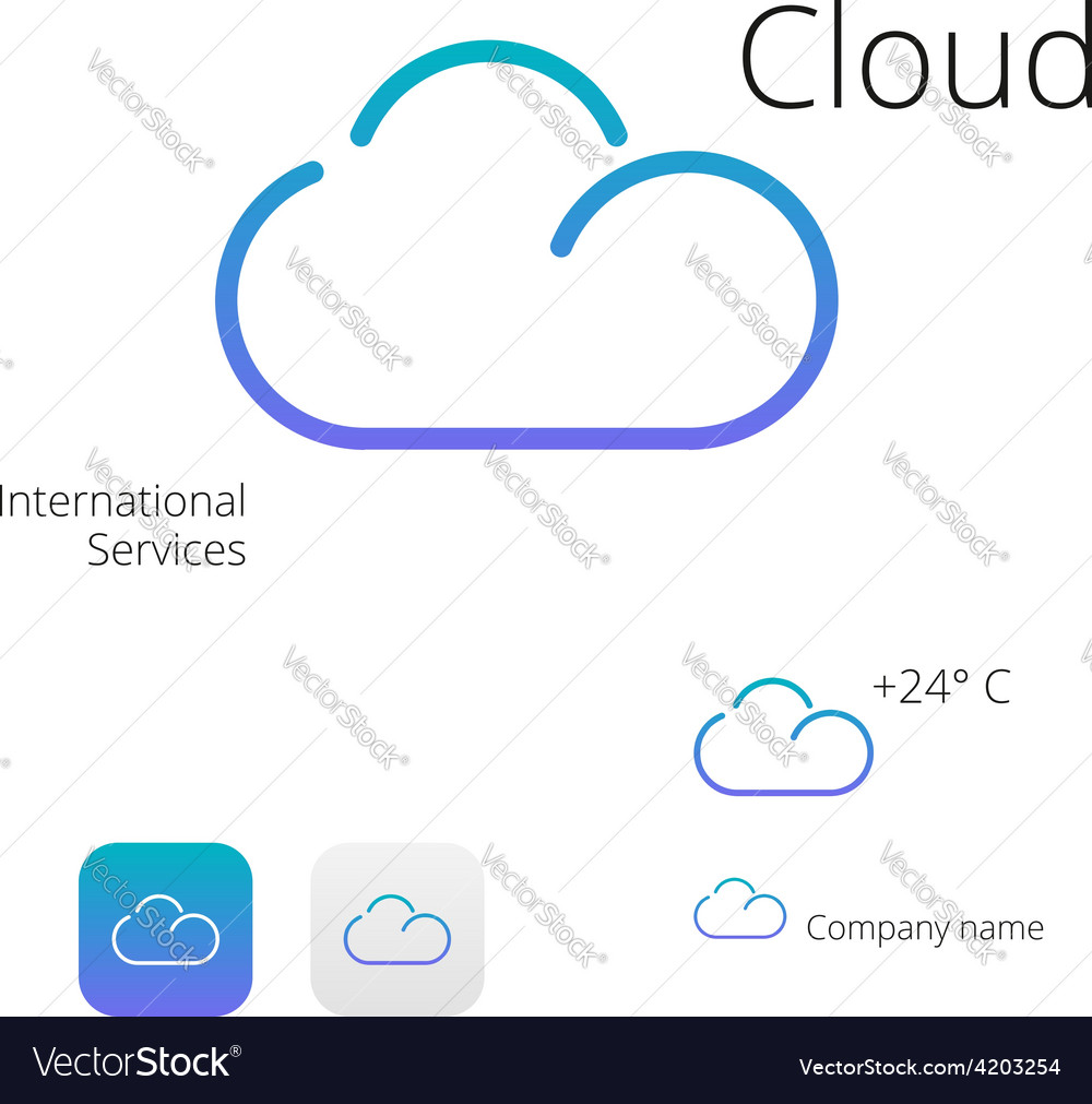 Cloud stylish logo and icons vector | Price: 1 Credit (USD $1)