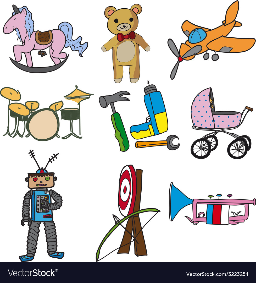 Collection of toys vector | Price: 1 Credit (USD $1)